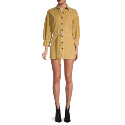70/21 Women's Belted Corduroy Shirt Dress KHAKI Valentine's day 2021
