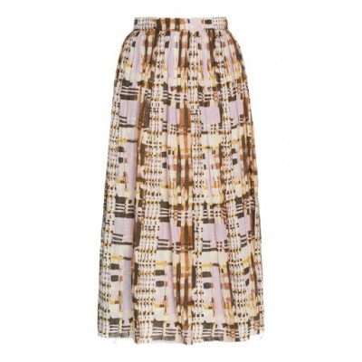 Alexis Nerea Pleated Plaid Linen Midi Skirt Purple High Quality