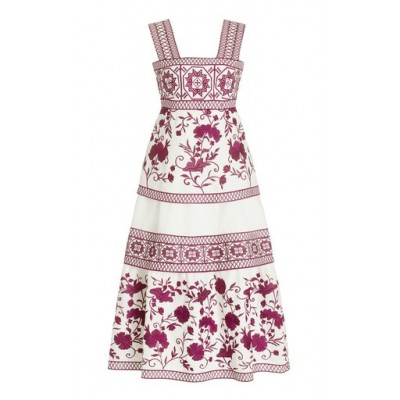 Alexis Women Tops Verity Embroidered Linen Midi Dress Pink 1860's