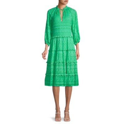 Alice + Olivia by Stacey Bendet Girl's Clothing Layla Ruffle-Trim Geometric Peasant Dress JADE Plus Size