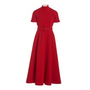 Emilia Wickstead Women's Tops Camilla Belted Pleated Crepe A-Line Dress Red Casual
