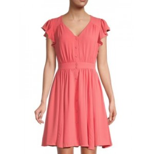 Gal Meets Glam Women's Tops Button-Front Fit-&-Flare Dress CORAL 1920's Sale Online