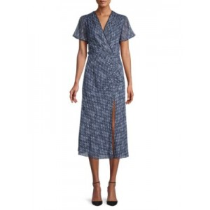 Jonathan Simkhai Women Printed Faux Wrap Dress MIDNIGHT