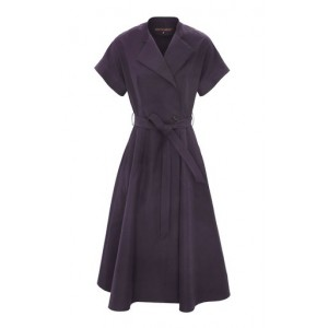 Martin Grant Women's Belted Cotton Midi Wrap Dress Navy Classic Fit