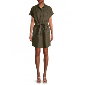 Pure Navy Girl's Utility Linen Shirtdress OLIVE 2021