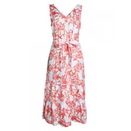 Saks Fifth Avenue Women's Printed Tie Linen Dress WHITE FLORAL Online Shopping
