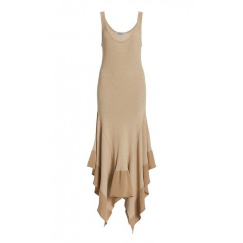 Stella McCartney Women's Clothing Collapsing Shape Ribbed-Knit Handkerchief Dress Neutral Classic Fit