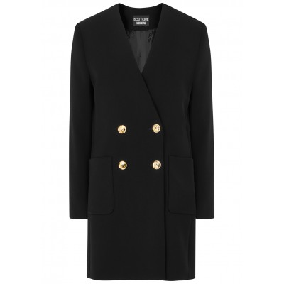Boutique Moschino Women Clothing Black double-breasted jacket Brand Cheap SC424794