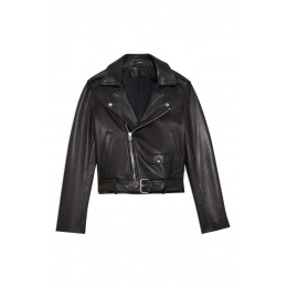 Theory Women Casual moto jacket in leather 3 Quarter SC433205