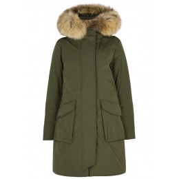 Woolrich Women Tops Military army green fur-trimmed twill parka 3 Quarter Wholesale SC418321