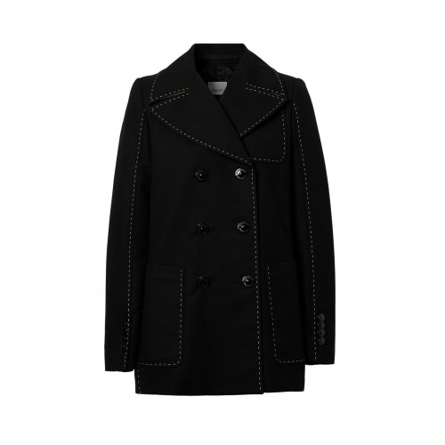Burberry Outwear Topstitched cotton pea coat Summer For Sale SC427249
