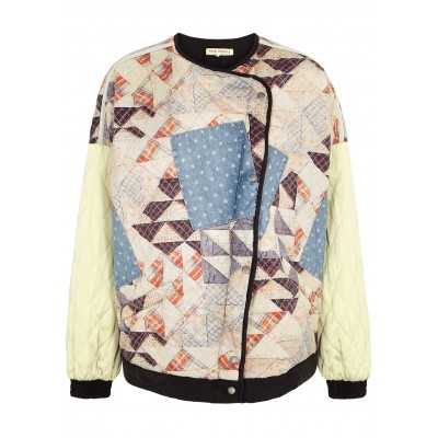 Free People Women's Tops Rudy quilted patchwork bomber jacket Biker The Best SC431971