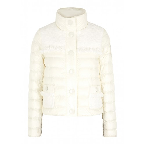 Moncler Lunaire cream tweed-panelled shell jacket Cute Fashion SC383058