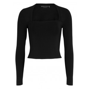 Alice + Olivia Women Tops Brynn black stretch-knit top Blouses for Work SC423931