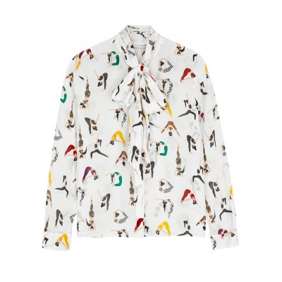 Alice + Olivia Women's Clothing Jeannie printed silk crepe de chine blouse Classic Fit SC413683