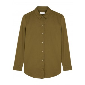 Equipment Women Clothing Essential army green cotton shirt Breathable Cheap Online SC433487
