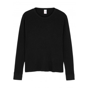 RE/DONE X Hanes Thermal black waffle-knit top Breathable Trends SC423461