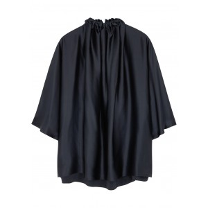 Roksanda Women Tops Ava midnight blue silk-satin blouse Base layer SC415655