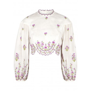 Zimmermann Women's Clothing Poppy floral-embroidered linen top SC420131