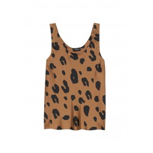 Theory Girl's Outwear Scoop-neck tank top in leopard print silk Athletic The Best SC436935