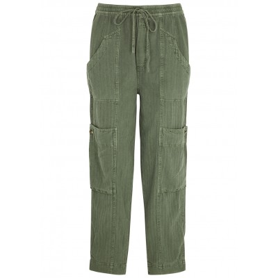 Free People Women Feeling Good army green linen-blend trousers Good Quality SC427326