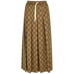 Gucci Girl's Outwear Brown monogrammed jersey midi skirt Running Everyday SC404631