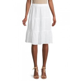 Saks Fifth Avenue Girl's Tops Tiered Linen Long Skirt  MQQCGNA