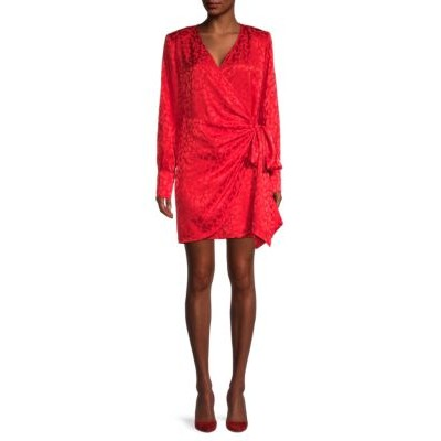 Andamane Women Clothing Carly Side-Bow Floral Wrap Dress RED Brand