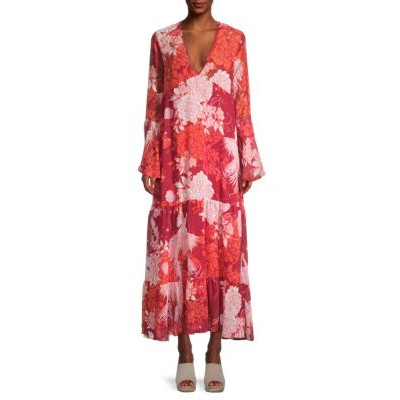 Free People Tops Moroccan Roll Floral Maxi Dress POPPY COMBO Best