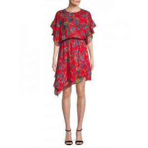 IRO Jeans Girl's Ruffle Floral Silk Dress RED Casual