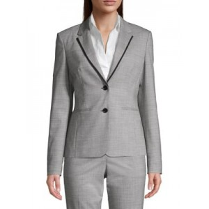 Hugo Boss Women's Outwear Julea5 Piped Wool-Blend Blazer BLACK FANTASY Size XXL KAXKIRV