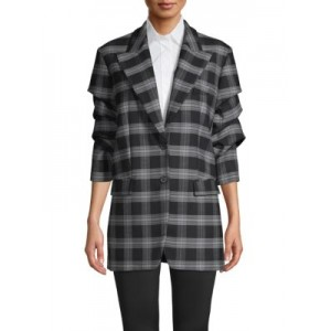 Michael Kors Collection Women's Clothing Gathered-Sleeve Plaid Jacket SLATE Discount REUVCTZ