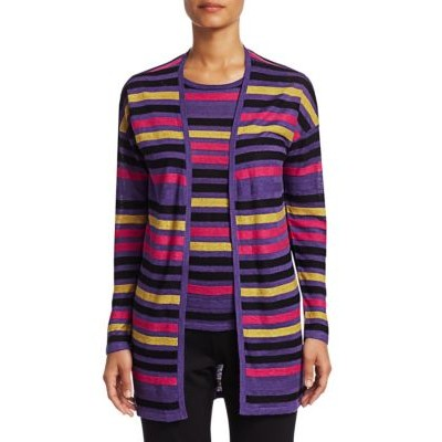 7 For All Mankind COLLECTION Silk & Linen Striped Open-Front Cardigan GRAPE MULTI XS Discount LAHBHYL