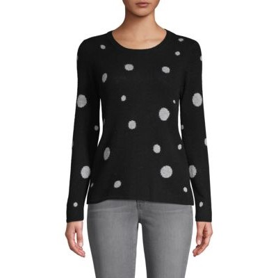 7 For All Mankind Women Tops Dot-Print Cashmere Sweater BLACK XS Discount LEQFVMY