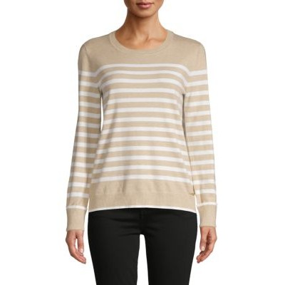 7 For All Mankind Women's Clothing Striped Sweater HEATHER LATTE Boutique WGURTDO