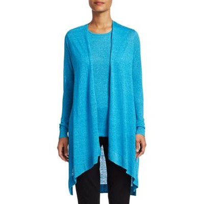 7 For All Mankind Women's COLLECTION Silk & Linen Longline Open-Front Cardigan VIVID TURQUOISE WDFHJHN