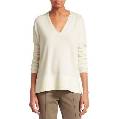Akris punto Girl's Outwear V-Neck Wool Pullover Sweater CREAM KBQWZIZ