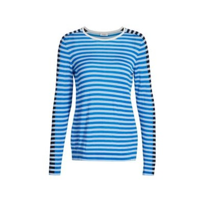 Akris punto Women Clothing Tricolor Wool Pullover SKY BLUE Winter SOSOICJ