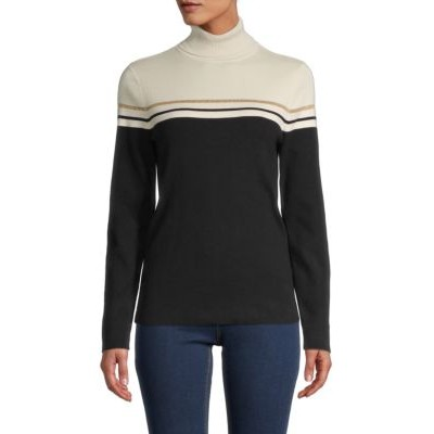 Anne Klein Women Outwear Striped Turtleneck Cotton-Blend Top ANNE BLACK WHITE COMBO Winter Boutique HPFDDPX