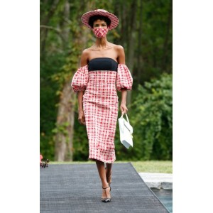 Christian Siriano Women's Tops Gingham Off The Shoulder Puff Sleeve Dress Red Summer Online Sale