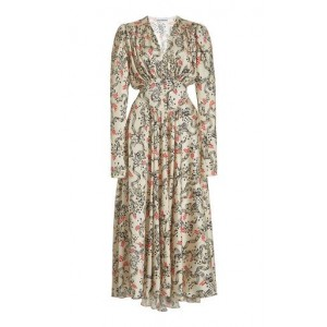Paco Rabanne Gathered Floral Crepe Midi Dress Floral Wholesale