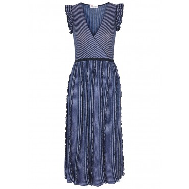 RED Valentino Women Tops Blue metallic-weave knitted midi dress Classic Fit SC427179
