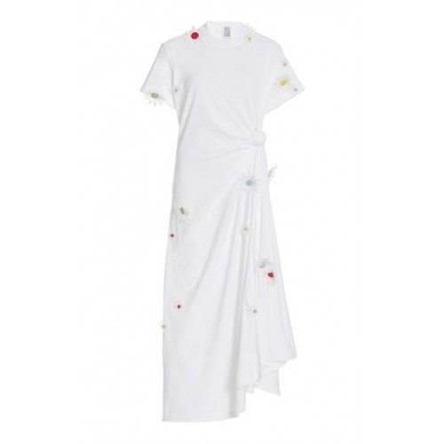 Rosie Assoulin Girl's Tops Floral-Accented Cotton T-Shirt Dress White