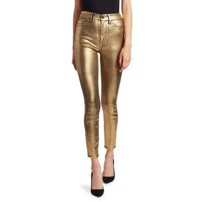 7 For All Mankind Women's High-Rise Metallic Ankle Jeans LIQUID GOLD Size Chart VCNOAKW