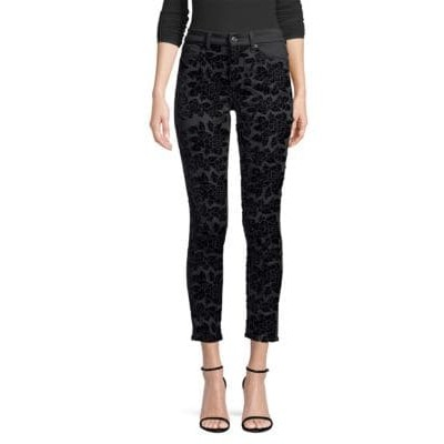 7 For All Mankind Girl's Clothing Floral Skinny Ankle Jeans BLACK Stretch PAGEKKQ