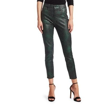 7 For All Mankind Snake Print High-Rise Skinny Ankle Jeans GREEN PYTHON NNGLIZB
