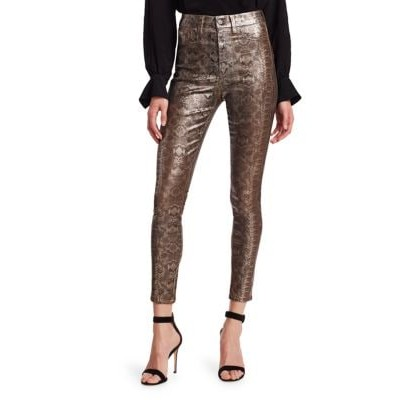 7 For All Mankind Women's Pants High-Rise Metallic Ankle Jeans PEWTER PYTHON GGREGOU