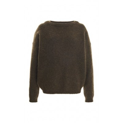 Acne Studios Women's Tops Dramatic Stretch-Wool Knitted Top Green Blouses for Work Trends