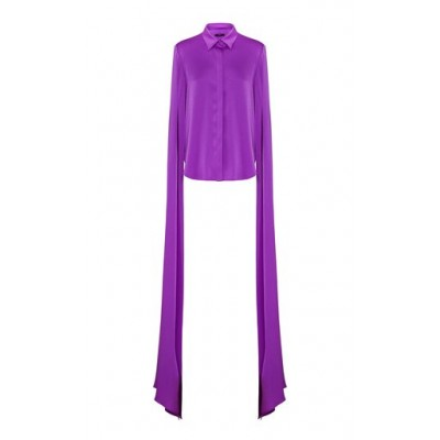 Alex Perry Women's Hensley Satin Crepe Cape-Sleeve Top Purple Blouses for Work