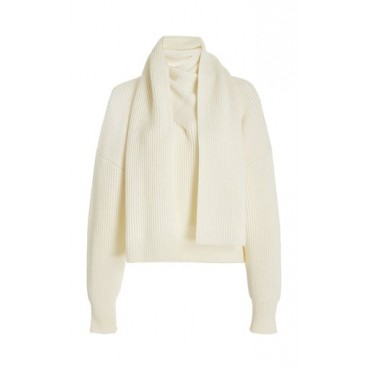 Anna October Women's Clothing Berlin Scarf-Detail Wool-Blend Top White New Look